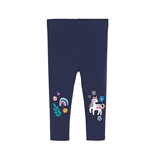Baotung Leggings de algodón elástico para niños y niñas, diseño de unicornio. Hoja azul. 116 cm