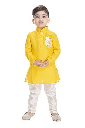 NEW GEN Boom Boys Full Sleeve with Pocket Regular Kurta and Pyjama Pant (Yellow, 2-3 Years)