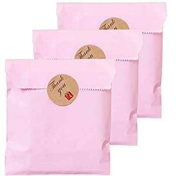 Party Favor Bag 5 * 7 inch 100 pcs Food Safe Kraft Paper and Ink Natural  Biodegradable  Vivid Colored Candy Cookie Buffet Bags Flat Treat Bag with 96 pcs 1.5 inch Stickers  Solid Pink