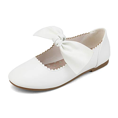 DREAM PAIRS Girls Ballerina Flats Mary Jane Front Bow Dress Shoes White Size 1 Little Kid Angie-5