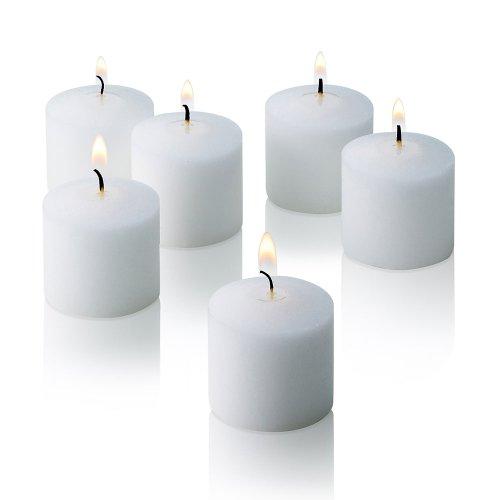 Velas votivas blancas, caja de 144 velas sin aroma, 10 horas de combustión, velas a granel para bodas, fiestas, spas y decoraciones