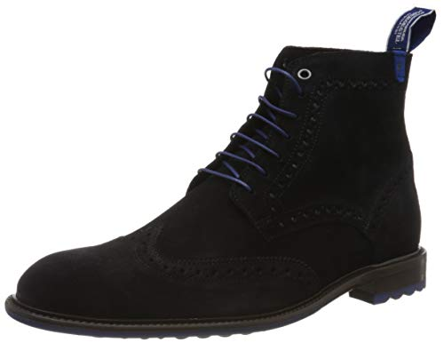 Floris van Bommel Herren 10506/15 Brogues, Blau (Dark Blue Suede 15), 45 EU (10.5 UK)