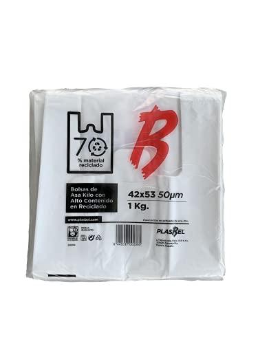 ACESA - Bolsas de Plástico Con Asas Tipo Camiseta Resistentes, Reutilizables y 100% Bolsa Reciclable,70% Recicladas, paquete de 1Kg (42x53)