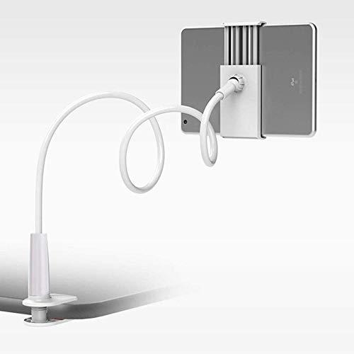 Yinaa Tablet Houder Universele Tablet Stand Flexibele Arm Luie Klem Bevestiging Beugel Bed Compatibel voor telefoons Tabletten Aluminium Magnesium Legering Firm, Kleur: wit