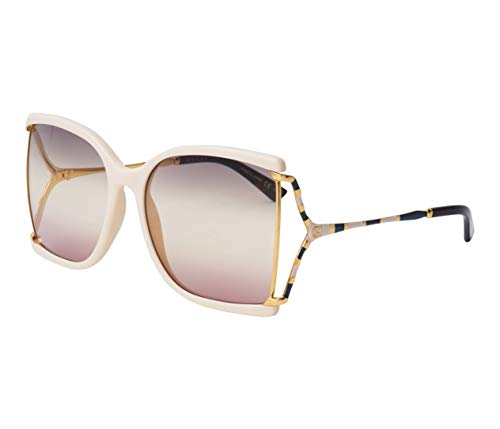 Gucci GG0592S Ivory/grey Pink Shaded (005 YG) nieuwe zonnebrillen 0592 ivoor 2019