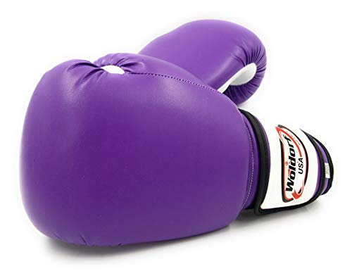 Woldorf USA Men and Women Training Fighting Sports Boxing Gloves - Heavy Punching Bag for Kids - Sparring Gloves, Kickboxing Gloves, Muay Thai Gloves and MMA Sparring Gloves - Vinyl 16oz Purple Sets