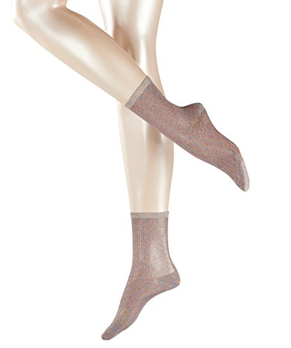 ESPRIT Damen Glitter W SO Socken, Blickdicht, Grau (Light Grey 3770), 37-38 (UK 4-5 Ι US 6.5-7.5) (2er Pack)
