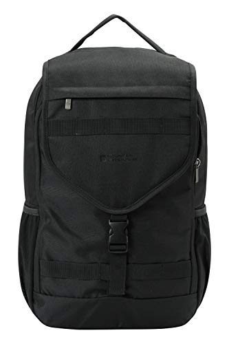 Mountain Warehouse Exodus 25L Rucksack - Padded Laptop Pouch Backpack, Drink Bottle Pockets, Padded Back System Daysack - for Camping, Travelling, Hiking, Daily Use Black