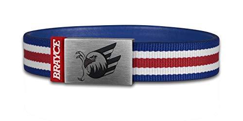 BRAYCE® Adler Mannheim Armband blau, weiß & rot mit Logo Gravur I Adler Farben am Arm & Eishockey pur (17cm)
