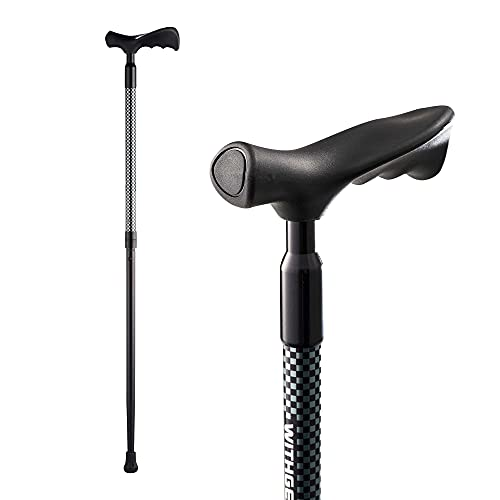 Withgear Ergo Walking Cane - Shock Absorbing Right and Left Handed Height Adjustable Duralumin Lightweight WalkingStick for Men and Women with and an Ergonomic Grip