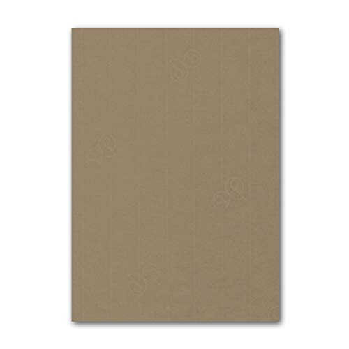 ARTOZ 25x Briefpapier + Bastelpapier/Bastelkarton - Taupe - DIN A4 297 x 210 mm – Edle Egoutteur-Rippung – Hochwertiges 220 g/m² Tonpapier – Scrapbooking Papier