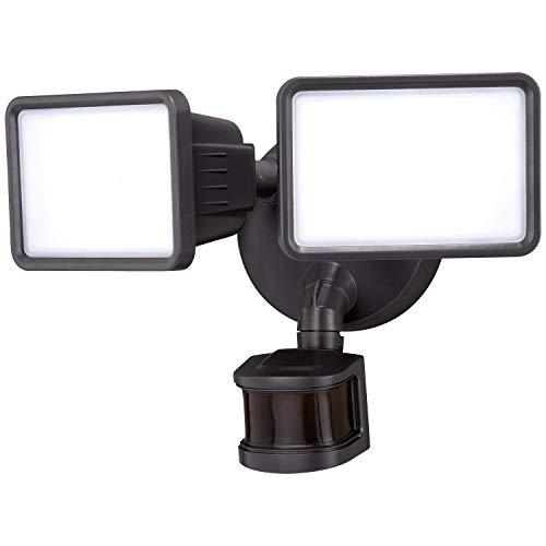 Vaxcel Motion Sensor Light Outdoor - Bronze LED Security Lights, Dusk to Dawn Sensor, Automatic Timer, 26W, 5000K, 2000LM, 2 Head Adjustable Motion Detector Flood Light for Outside Garage, Porch, Yard