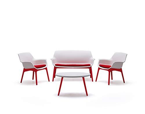 bica Luxor Lounge Set Bianco/Rosso Giardino