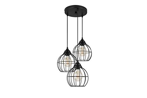 LIFA LIVING LED Hängelampe 3 flammig Schwarz, E27 Hängeleuchte aus Metall Industrial Gitter, Deckenlampe für Schlafzimmer, Wohnzimmer und Kinderzimmer