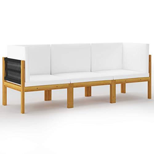 vidaXL Akazienholz Massiv Gartensofa 3-Sitzer mit Kissen Sofa Lounge Couch Sitzgruppe Ecksofa Mittelsofa Gartenmöbel Sitzgarnitur Gartenset