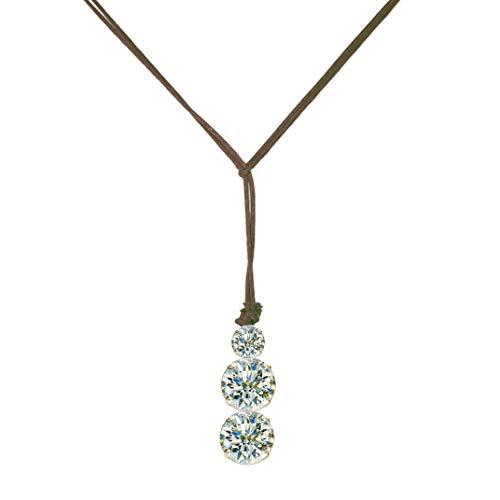 Damen-Kette mit Swarovski-Kristallen, Schnurband aus verschiedenen Farben, elegant und modisch, hergestellt in Italien, Neuheit 2019 dunkelbraun