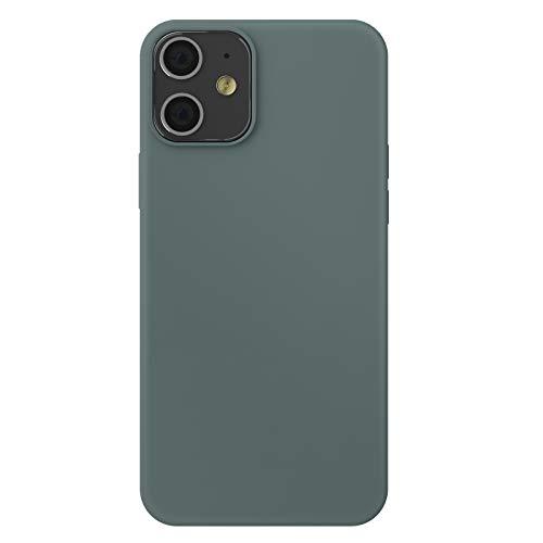 """ZhinkArts Silikon Handyhülle kompatibel mit Apple iPhone 12 Mini - 5,4\"""" Display - Schutzhülle Case mit Mikrofaser Innenfutter - Hülle in Piniengrün"""