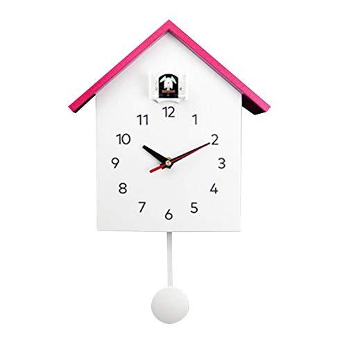 MagiDeal Reloj de Cuco Moderno, Cuckoo Home Reloj con Pendulo, Diseño Simple Reloj de Cuco Reloj Reloj de Pared para Sala de Estar Dormitorio Oficina Habitación Niños- Rosa