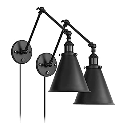 Industrial WallLight Black Paint FinishPluginAdjustableArmswithOn/OffSwitchforBedroomWallSconceFixtureMetalPlug-inWallLamp (2-Lights)