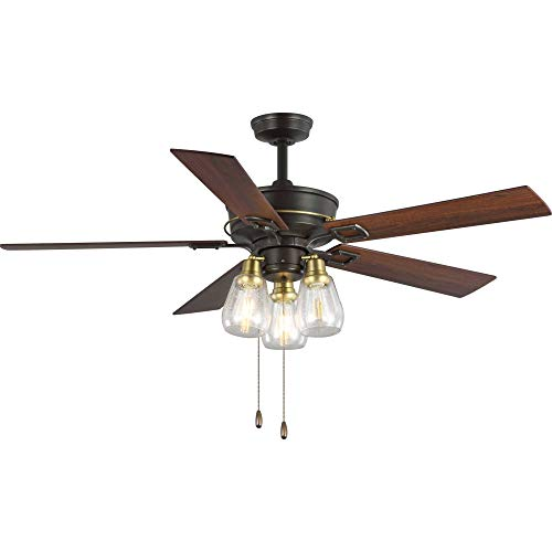 "Progress Lighting P250004-129 Teasley 56"" Five-Blade Ceiling Fan with Glass Shades, Architectural Bronze"