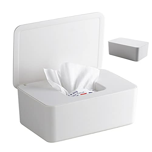 Toallitas húmedas dispensador caja para toallitas portacepillos antipolvo, pañuelos húmedos, caja de pañuelos de plástico con tapa para baño, oficina y coche (blanco)
