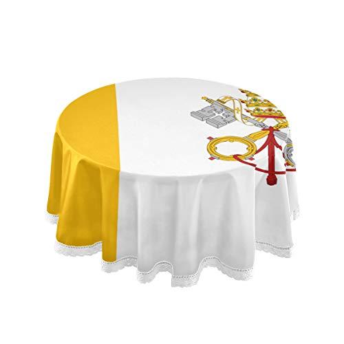 All3DPrint - Tovaglia Rotonda con Bandiera della Città del Vaticano, 150 cm