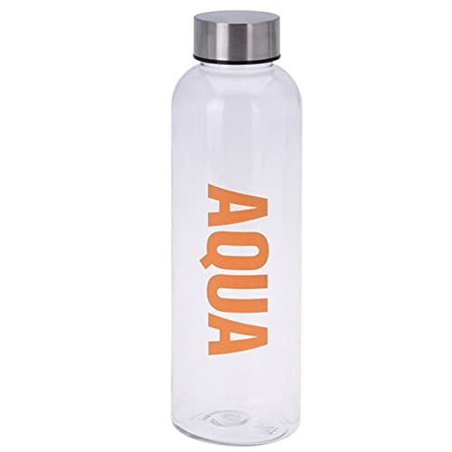 hibuy Borraccia Aqua da 500 ml, a prova di perdite e anidride carbonica, in plastica trasparente, arancione