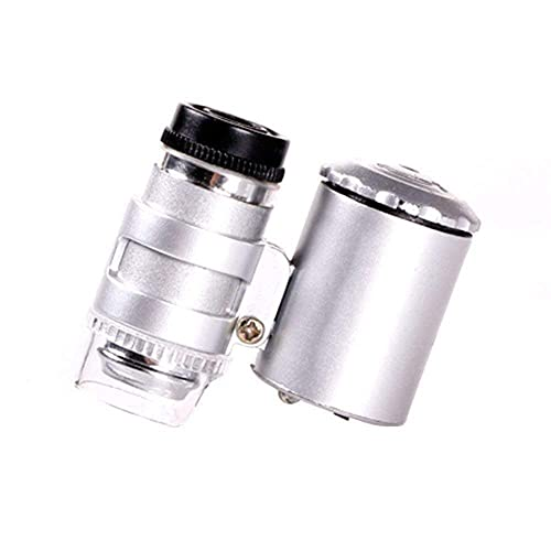 Förstoringsglas, håller förstoringsglaslins Uv Diamantsmycken Bedömning Silvermynt identifierade 60X förstoringsglas med LED-ljusavgivande HD 42 * 35 * 19Mm förstoringsglas