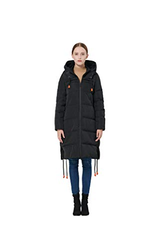 Orolay Women's Thickened Contrast Color Drawstring Down Hooded Coat Black M