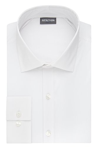 Kenneth Cole Reaction Men's Technicole Slim Fit Stretch Solid Spread Collar Dress Shirt , White, 17' Neck 36'-37' Sleeve