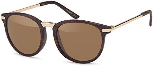 Vintage Sonnenbrille im 60er Style mit trendigen bronzefarbenden Metallbügeln Panto - Retro Brille (braun)