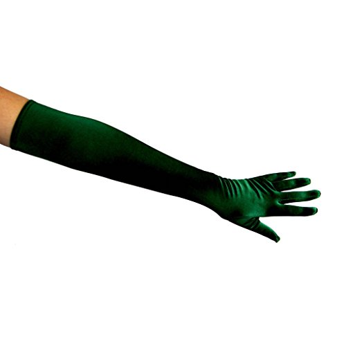 22' Classic Adult Size Opera Length Satin Gloves, Hunter Green