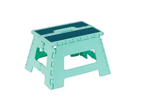 Inspired Living Folding Step Stool Heavy Duty 9quot High Aqua