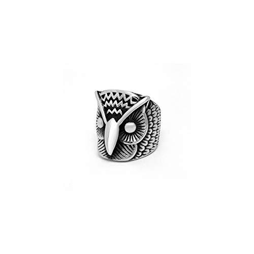 CRYPIN Anillo de búho de Acero de Titanio para Hombre Anillo de Cabeza de águila Retro de Moda 7-14
