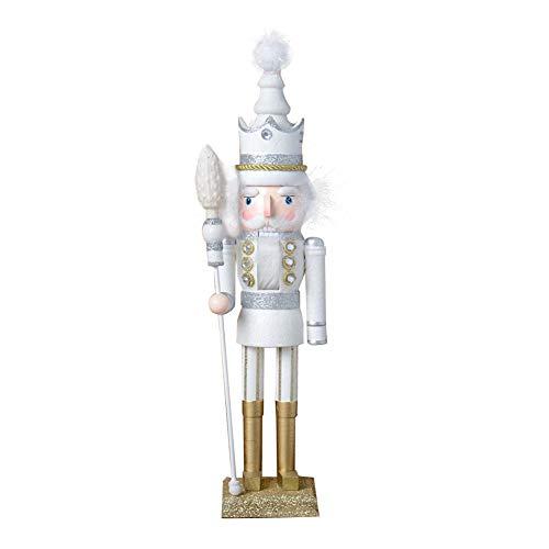 Chutoral Traditioneller Nussknacker-Soldat aus Holz, 42 cm, Weihnachts-Sammelstück, Nussknacker, auf Ständer, Puppen, Statue, König Dekoration (weiß)
