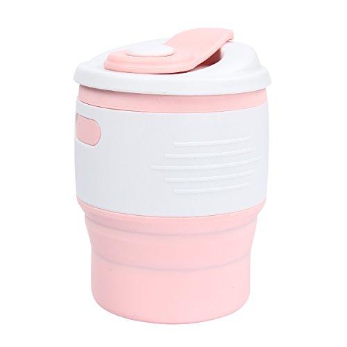 Tasse à café pliable en silicone de qualité alimentaire 350 ml - Pour bureau, maison, voyage, camping, randonnée - Rose