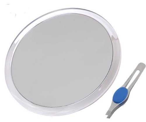 DB Tech Large 10-Inch Suction Cup 5x Magnifying Mirror with Precision Tweezers w/Rubberized Grips, Triple Suction Cups for Lasting Hold on Most Flat Surfaces