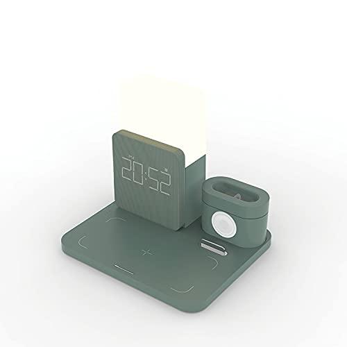 Lámpara Escritorio de Interruptor táctil multifunción Bluetooth lámpara de Mesa LED con atenuación estéreo/luz Nocturna/versión de Carga inalámbrica Opcional (Color:Normal),Darkgreen