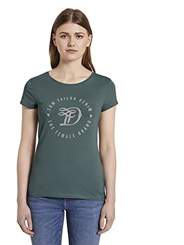 TOM TAILOR Denim Damen Basic Logo Tee T Shirt, 13178 - Mineral Stone Blue, XS EU