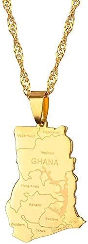 Aluyouqi Co.,ltd Collar Collar Collar Color Dorado Mapa del País De Ghana con Nombre De Estado Collares Pendientes Encantos Joyería De Ghana Regalos
