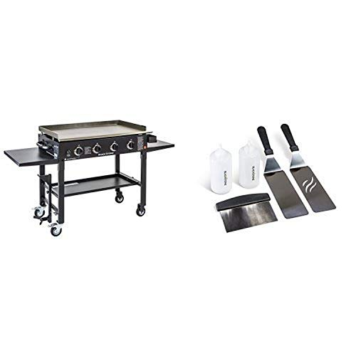 Blackstone 36 inch Outdoor Flat Top Gas Grill Griddle Station - 4-burner - Propane Fueled - Restaurant Grade - Professional Quality - With Accesory Kit