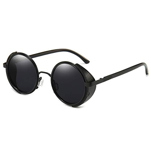 Dollger Steampunk Vintage Retro Round Sunglasses Metal Circle Frame (Black Lens+Black Frame,100% UV Protection Lens)