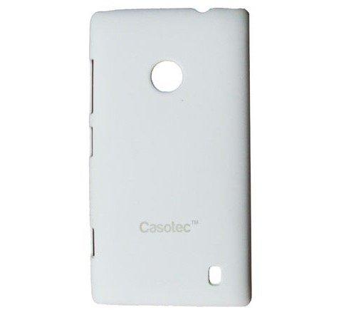 Casotec Ultra Slim Hard Back Case Cover w/Screen Protector for Nokia Lumia 520 - White