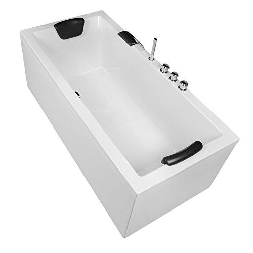 Badewanne Komplett-Set inkl. Unterbau Ab-Überlauf und Schürzen-Set 180x80 cm Modell: Neu-Ulm + Armatur mit Wasserfall im Wannenrand + 9 x Mini-LED + Nackenkissen