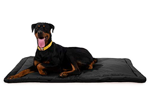 K9 Ballistics Tough Dog Crate Pad - Washable, Durable and Waterproof XL Dog Crate Beds - X-Large Dog Crate Mat, 47'x28', Black