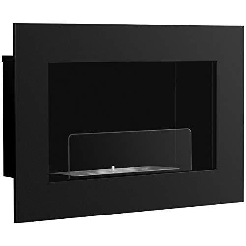 DREAMADE Biocamino da Parete Caminetto a Bioetanolo a Muro con Vetro in Acciaio 70 x 46 x 18,5 cm, Nero