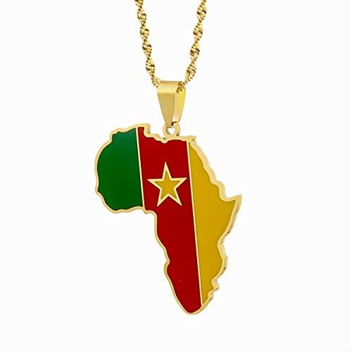 xtszlfj Mapa de África Mapa de Camerún Collares Pendientes Mapa de joyería de Color Dorado Regalo Africano