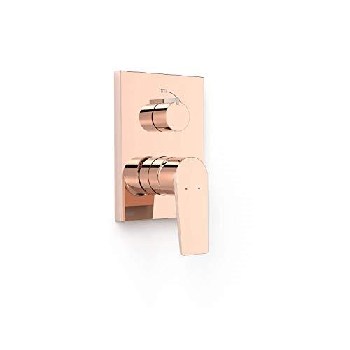 Grifo monomando empotrado de 2 vías Rapid-Box para ducha, gama Project-Tres, con cuerpo empotrado incluido, maneta, 6 x 11,8 x 20,5 centímetros, acabado oro rosa (referencia: 21128001OP)