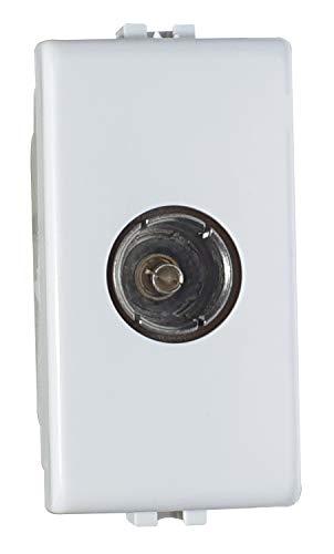 02475-F2/PLANA antenne-stopcontact TV-aansluiting geschikt, antennedoos Tv compatibel Plana, wit, 1 m, doorgangsdoos, Made in Italy