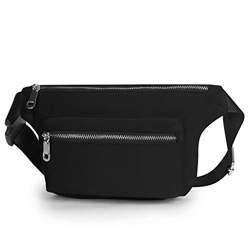 Wind Took Gürteltasche Bauchtasche Multifunktionale Hüfttasche für Reise Wanderung Outdoor Damen und Herren, Schwarz, 31x6.5x15cm